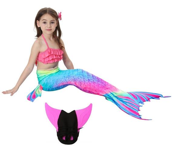 Sirena Cola Y Bikini Niñas Con Monoaleta Set 4 Envío Gratis