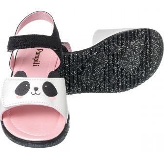 Sandália Infantil Pampili Bombom Zoo Panda Preto - 127049