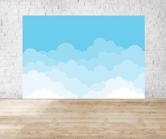 Fundo Fotográfico Em Tecido Newborn Céu Nuvens - Md06