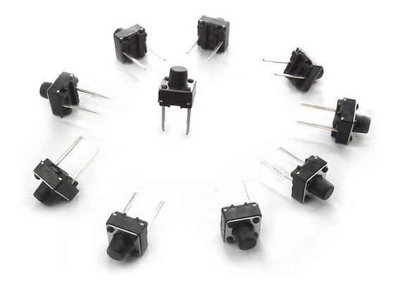 1pz Push Button Boton De 12x12x?? 4 Pines Microswitch Negro