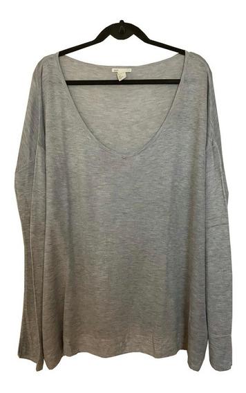 Sweater Pullover Finito Gris Melange Amplio Importado H & M