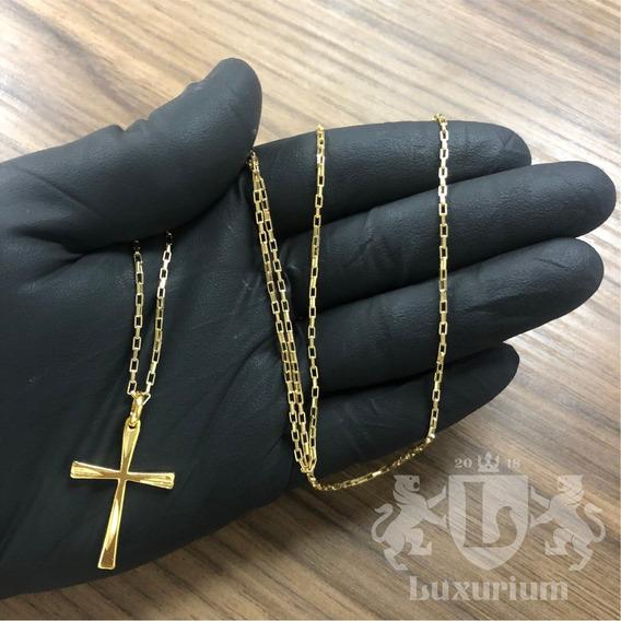 Cordão Veneziano 2mm Pingente Cruz C/ Nó Banhado A Ouro 18k