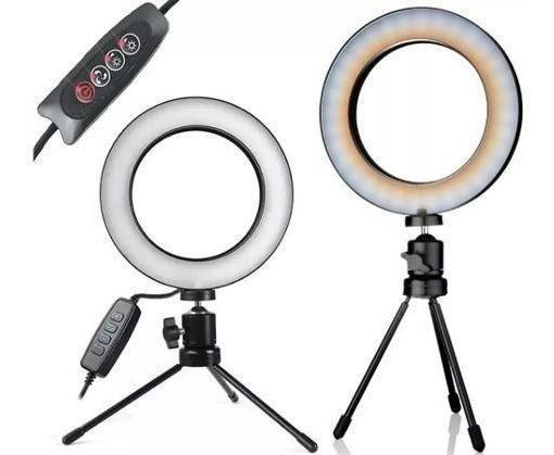Ring Light Tripé Mesa Iluminador Youtuber Maquiagem Promoção