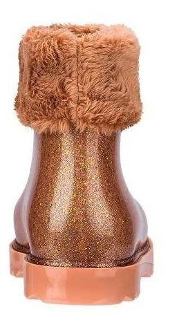 Bota Mini Melissa Winter Boot Marrom Glitter Dourado 32588