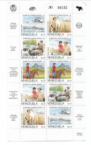 Imagen 1 de 1 de Estampillas  Venezuela  50 Aniv Guardia Nacional 1987