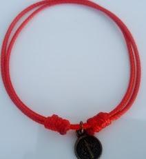 30 Pulseras Ajustable Recuerdo Medalla San Benito Rojo