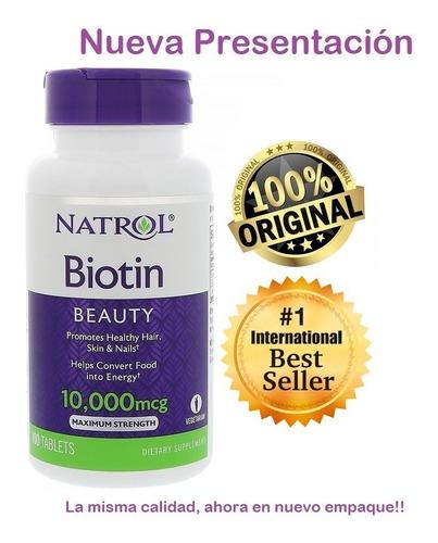 Biotin Natrol 10000mcg X 100 Tab - Origi - L a $600
