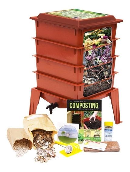 Compostero Lombriz Composta Gusanos 4 Niveles Fertilizante