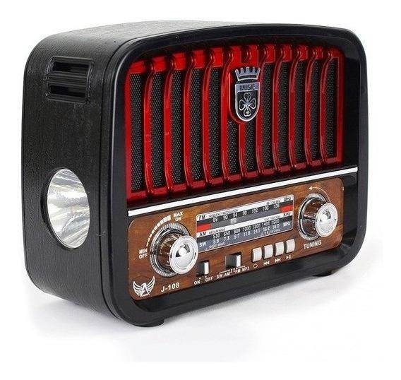 Caixa De Som Rádio Antiga Portátil Retro Bluetooth Fm Usb