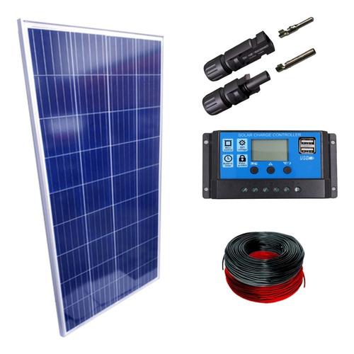 Imagem 1 de 1 de Kit Placa Solar 340w Controlador De Carga 30a Lcd Cabos