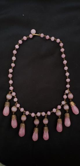 Colar Art Deco Pedra Rosa Pequim 1920 Vintage