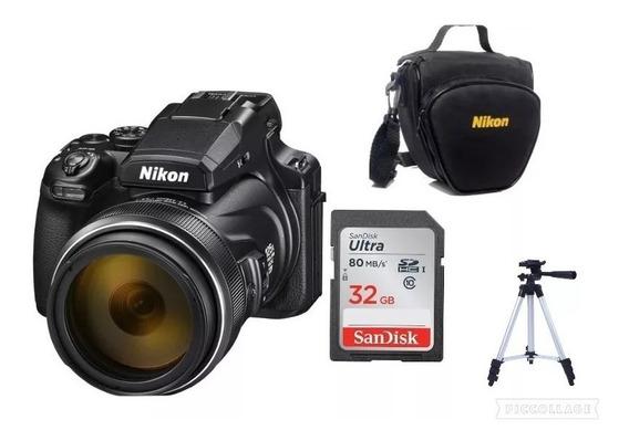 Câmera Nikon Coolpix P1000-4k Zoom 125x+bolsa+32gb+nota