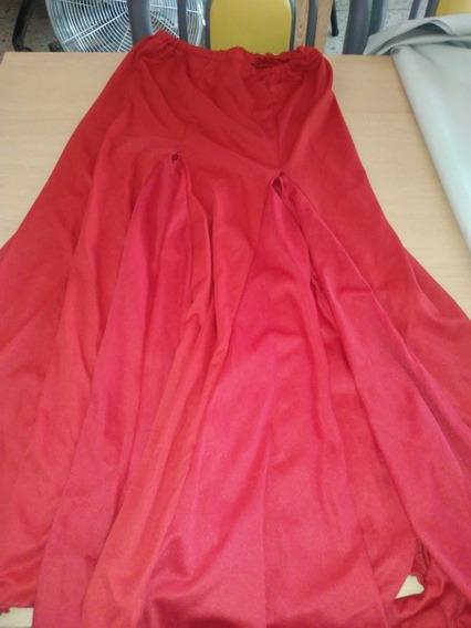 Pollera Roja Arabe O Flamenco 2 Tajos