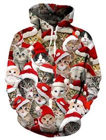 Loveternal Unisex 3d Ugly Christmas Cat Print Hoodies Hipste