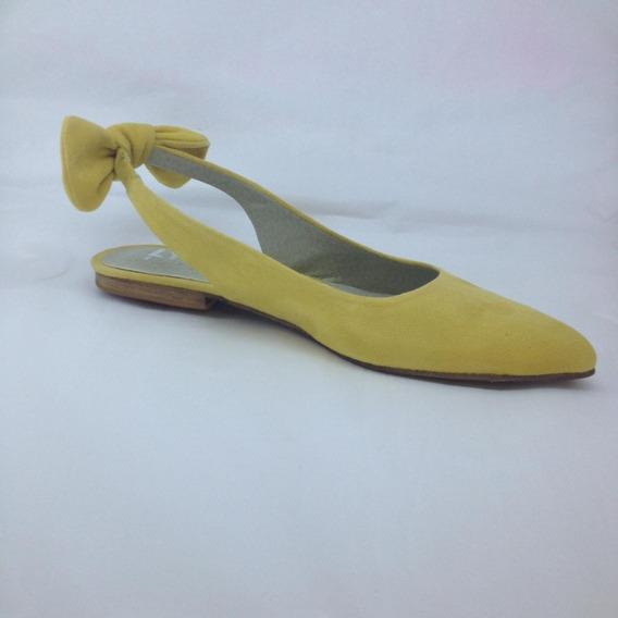 Zapato Mujer Chata Gamuza Con Moño Lynch #136