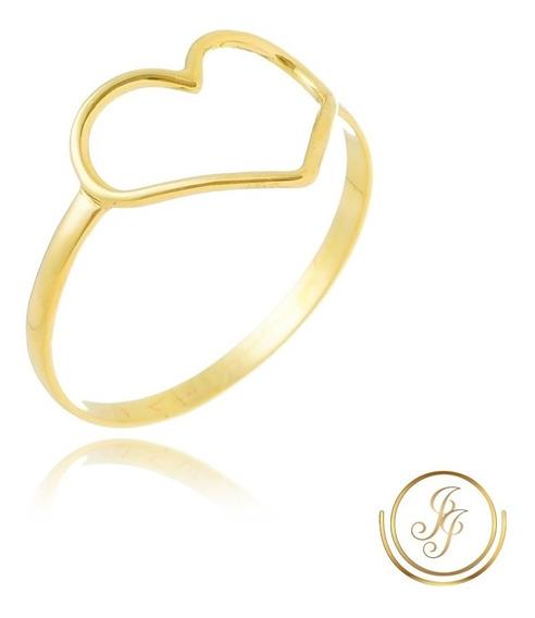 Promoção Anel Coração Ouro 18 Kl Vazado