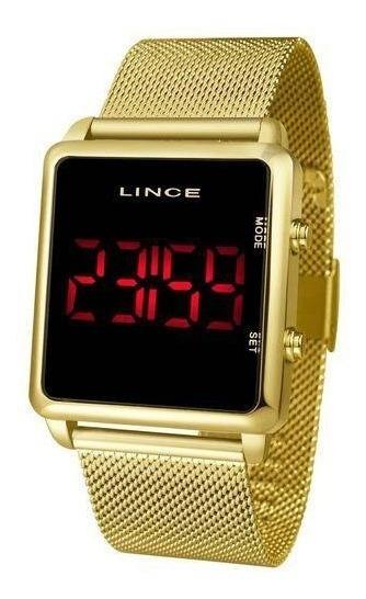 Relógio Lince Led Digital Dourado Unissex Mdg4596l Pxkx