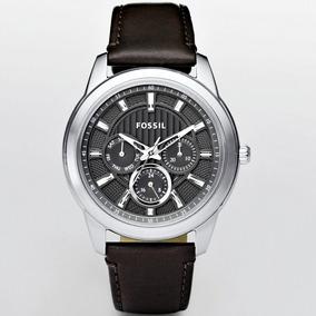 Relógio Masculino Original Fossil Prata Couro Marrom Social