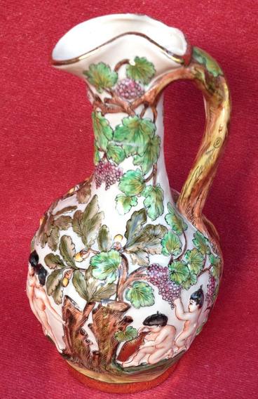 Antiguo Jarrón Porcelana Italiana Capodimonte En Relieve