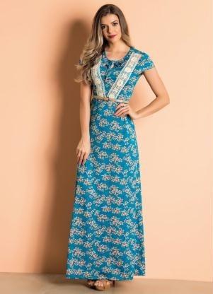 Vestido Longo Com Guipir Floral Moda Evangélica