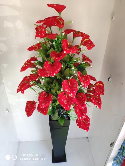 Planta Artificial Verniz Vermelha Coração + Vaso