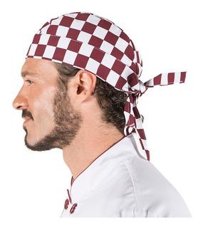 Gorro Chef O Cocinero Pirata Unisex Con Cuadros Vino Y Blco