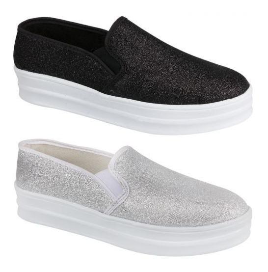 Tenis Casuales Urban Shoes 152169 Kit 2 Pares Plata Y Negro