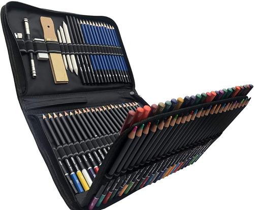 Imagen 1 de 10 de Set 95 Lápices Dibujo Colores Y Estuche Profesional Artista