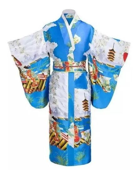 Kimono Tradicional Japones Yukata Obi Incluido