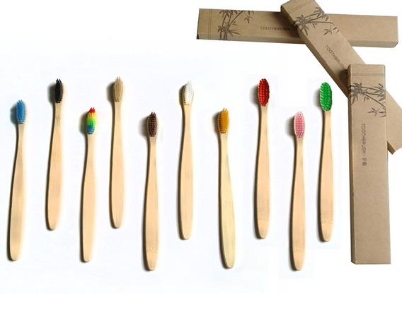 Paquete 100 Cepillo Dientes Bambú Biodegradable Suave