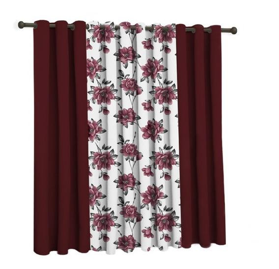 Cortina Oxford Floral Sala/quarto 300x250 Promoção
