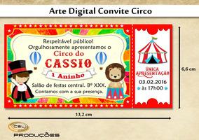 Convite Para Aniversário Tema Circo Vermelho (arte Digital)