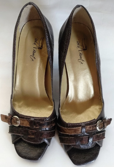 Sapato Peep Toe Bela Biruta (37) Feito A Mão