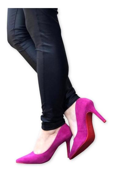 Scarpin Salto Alto Fino Rosa Pink Chiclete Bico Fino Camurça Fosco