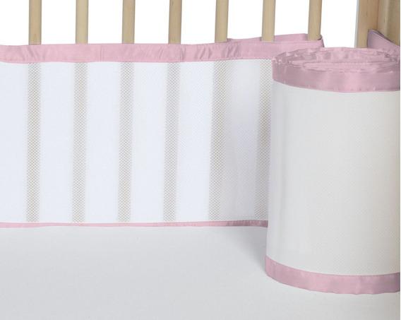 Tela Kit Protetor Berço Breathable Baby 4 Lados Rosa