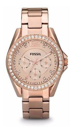 Reloj Fossil Es2811 Riley Rose Gold-tone Para Mujer