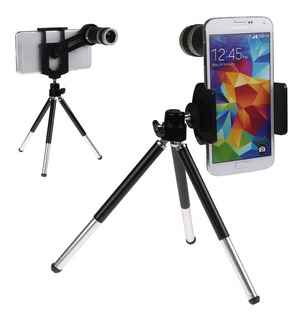 Lente De Camara Telescopio Zoom Optico X8 Con Tripode Metal