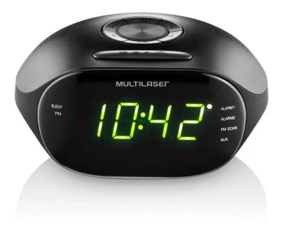 Rádio Relógio Multilaser Led Verde Fm E Aux Bivolt - Sp202