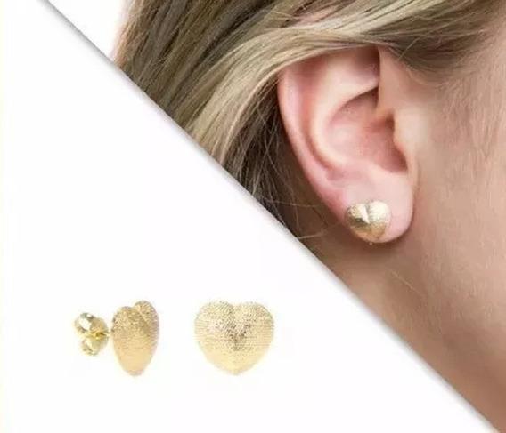 Brinco Feminino - Coração Trabalhado Anti-alérgico E Sem Níquel. Oferta