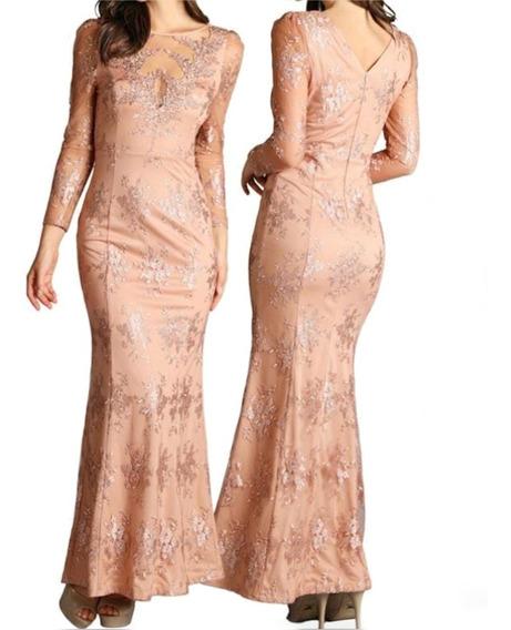 Vestido De Fiesta Largo, Guipur, Transparencia Escote, Sexy.