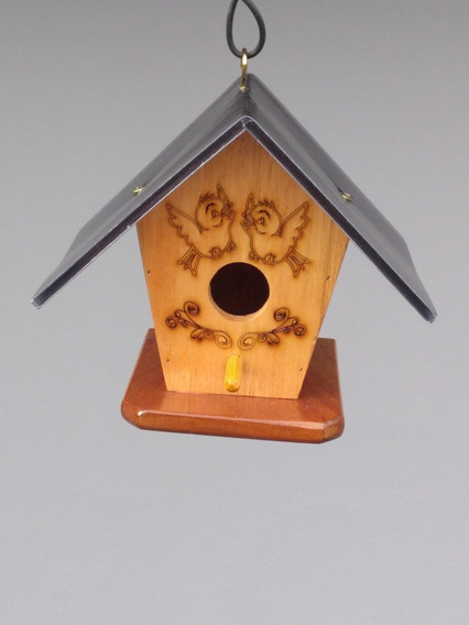 Kit 3 Ninhos P/pássaros, Grav. Laser. Telhado Policarbonato