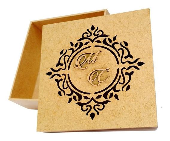 25 Caixa Padrinhos 15x15x5 Mdf Casamento Brasão Iniciais R11