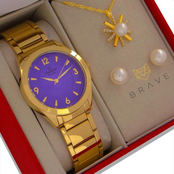 Relógio Champion Feminino Dourado Lilás 1 Ano Garantia + Nf