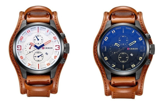 2 Relógio Masculino Curren Original Militar Sport Luxo Couro