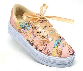 1cd8d50506 Tênis Feminino Doma Shoes Plataforma Rosê Floral Original.