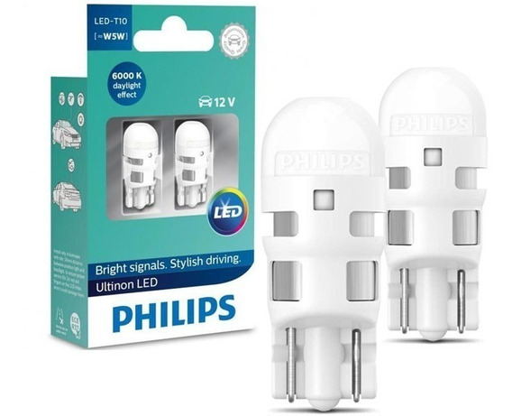 Lampada Philips Pingo Led Ultinon 6000k W5w T10 Super Branca
