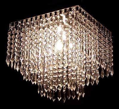 Lustre Cristal Acrílico Cascata Pirulito 30 Cm 1 Lampada Led