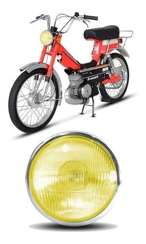 Farol Mobilete Monark Redondo Vidro Amarelo Preto/cromado