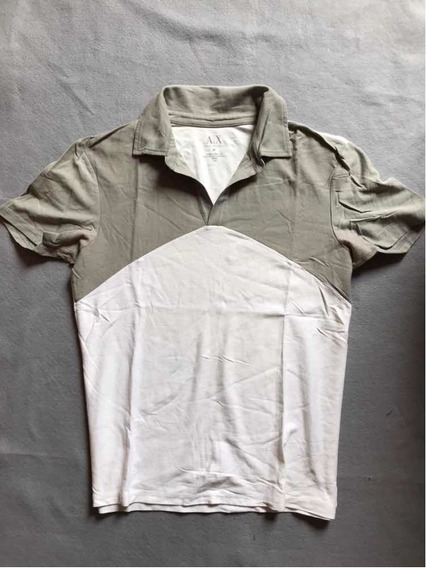 Playera Polo Armani Exchange Original Gris Con Blanco