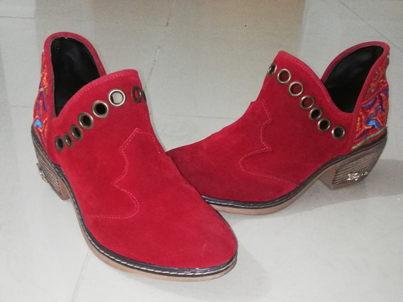 Botas Texanas De Gamuza - Color Bordo - Talle 38